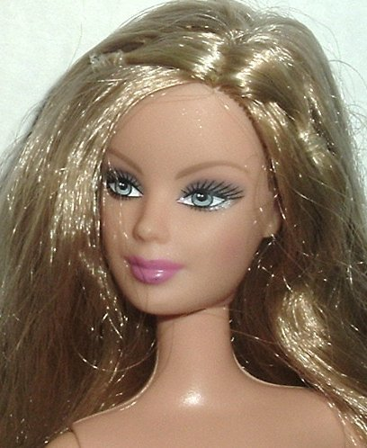 Blonde BARBIE Doll EXOTIC Face Nude side part hair Mattel