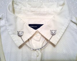 Cat Collar Pins Silver Cat Sweater Clips Kitty Collar Chain - $36.00