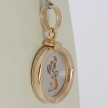 Anhänger Medaille Gold Pink Weiß 750 18K, Rund, Engel Schutzengel in Gebet image 1
