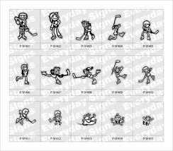 Stick Figure printed vinyl stickers - Hockey Family - $2.00