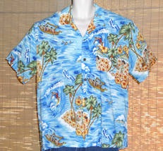 Pineapple Connection Hawaiian Shirt Light Blue Islands Size Large - $19.95