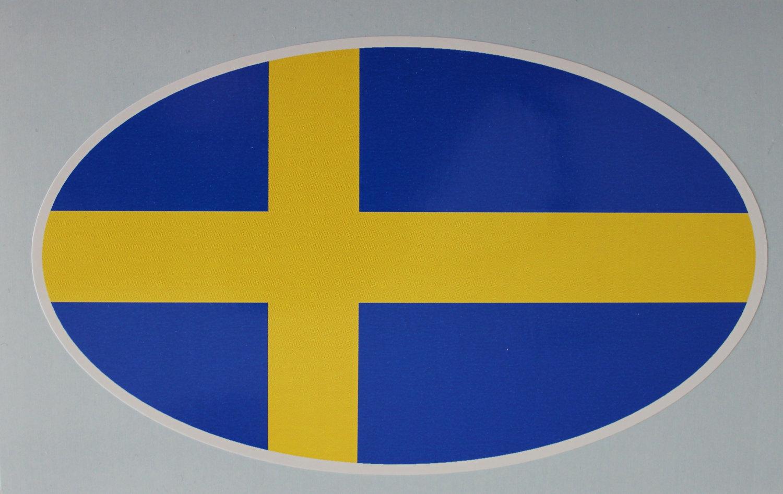 Oval sticker - Swedish flag