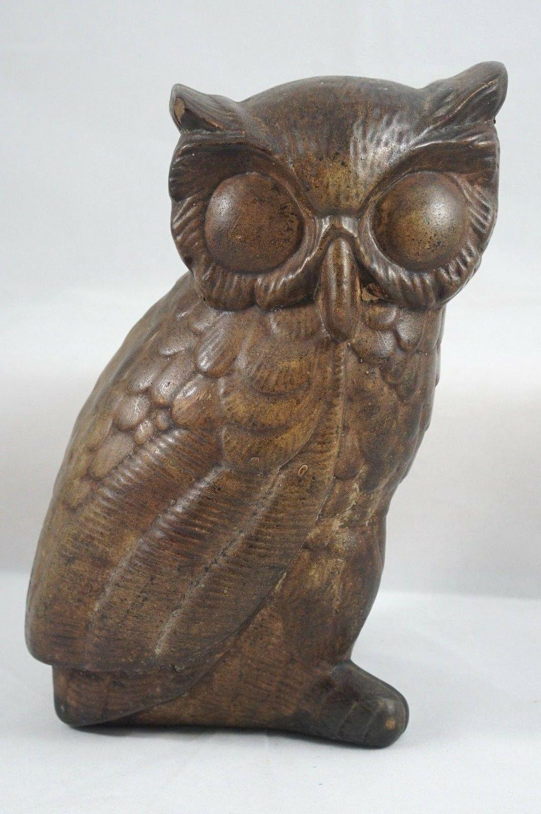 VIntage Fabbri Art Studio Co Brown Chalkware Owl  San Francisco USA