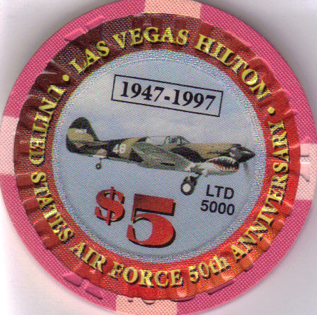 Primary image for $5 US Air Force 50th Anniversay HILTON Las Vegas Limited Edition 5000