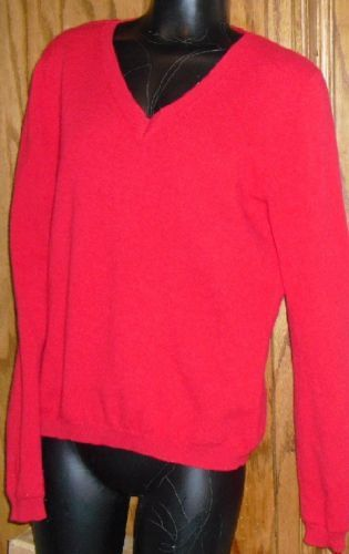 WORTHINGTON red CASHMERE pullover V-Neck Sweater  Worthington