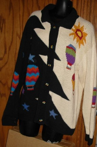 COTTON SALSA Peru cardigan Sweater HOT AIR BALLONS Sweater Project