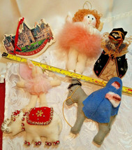 6 Vintage Christmas Ornaments - Mary & Jesus, English Lady, Ballet Angel & More