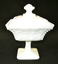 Vintage Imperial Glas Covered Candy Dish ~ Grapess & Vine Motif Milk Glass 1950s - $39.15