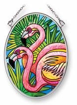"""Pink Flamingos Sun Catcher 3.25"""" x 4.5"""" AMIA Glass Small Oval New Flamingos - €17,12 EUR"""
