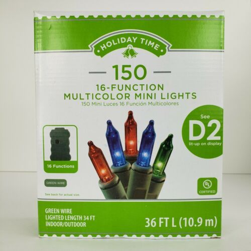 Primary image for 150 Multicolor Mini Lights 16 Function Green Wire Set Christmas Patio Backyard