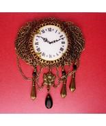 Victorian Watch brooch - vintage enamel clock lapel pin - Chatelaine wat... - $95.00