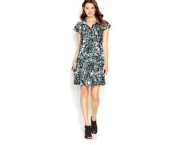 Kensie Printed Mint Black Combo Stretch Knit Pockets Shift Womens Dress Size XXL - $29.69