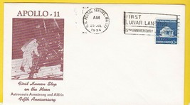 APOLLO 11 5th ANNIVERSARY USPS MA JULY 20 1974 FIRST HUMAN STEPS ON MOON... - $1.98