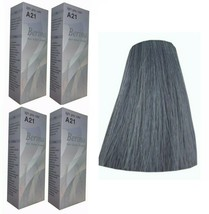 x4 Boxes BERINA A21 LIGHT GREY SILVER COLOR PERMANENT HAIR DYE COLOR CREAM  - $31.97
