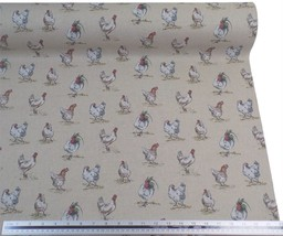 Hens Chickens Beige Linen Look High Quality Fabric Material *3 Sizes* - $1.79+