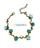 Gorgeous retro new bronze coastal blue Swarovski element crystal wavy br... - $22.00