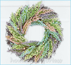 LED Lighted Pastel Berry Rattan Wreath Spring Easter Door Wall Home Deco... - $23.98