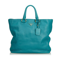Pre-Loved Prada Blue Light Others Leather Vitello Daino Satchel Italy - $736.51
