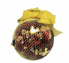 Walt Disney Christmas ornament vtg holiday Mickey Mouse ears gold potpou... - $23.71