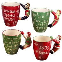 3-D 18 oz. Multi-Colored Christmas Mug with Handle (Set of 4) - $56.28