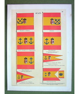 FLAGS Spain Marine Naval Frigate Captain Vice Admiral - 1899 Color Litho... - $16.20