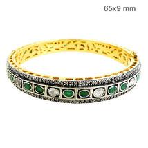 Emerald Gemstone 14k Gold Bangle Bracelet 925 Silver Pave Rose Cut 3.3ct... - $1,219.41