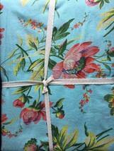 April Cornell Tablecloth Turqoise blue trim Flowers French Country NEW W... - $54.50