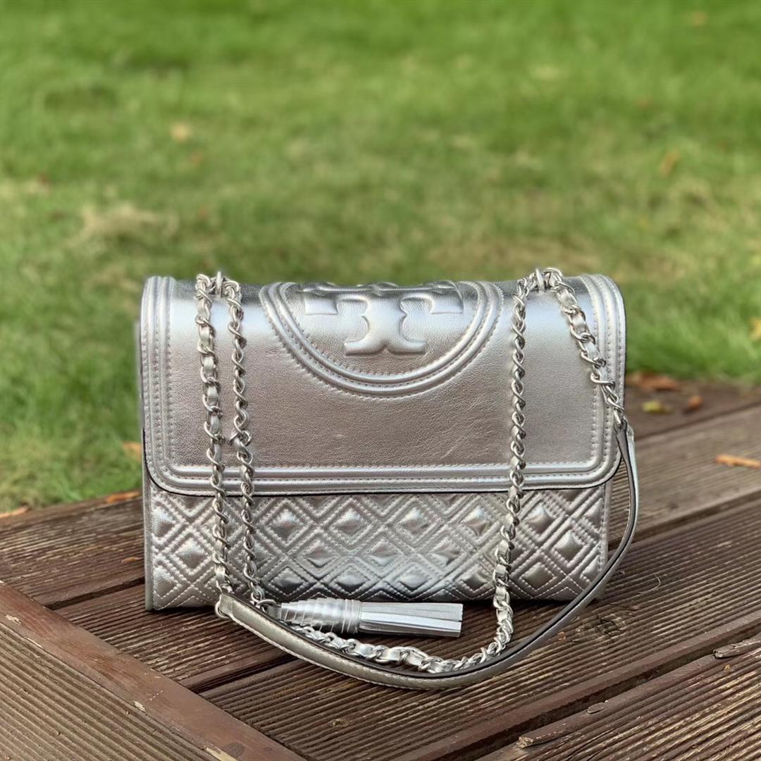Tory Burch Fleming Metallic Convertible Shoulder Bag