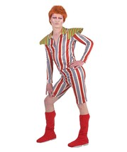 Adult Men's Costume for Cosplay David Bowie Ziggy Stardust, Red HC-041 - $54.85