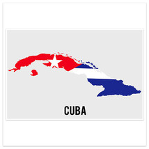 Cuba Flag With Country Shape Wall Art Poster - $18.32