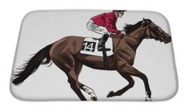 Bath Mat, Illustration Of A Racing Horse And Jockey - $29.95+