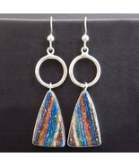 Sterling Silver Rainbow Chalcedony Dangle Earrings by Navajo Ruth Ann Begay - $179.00