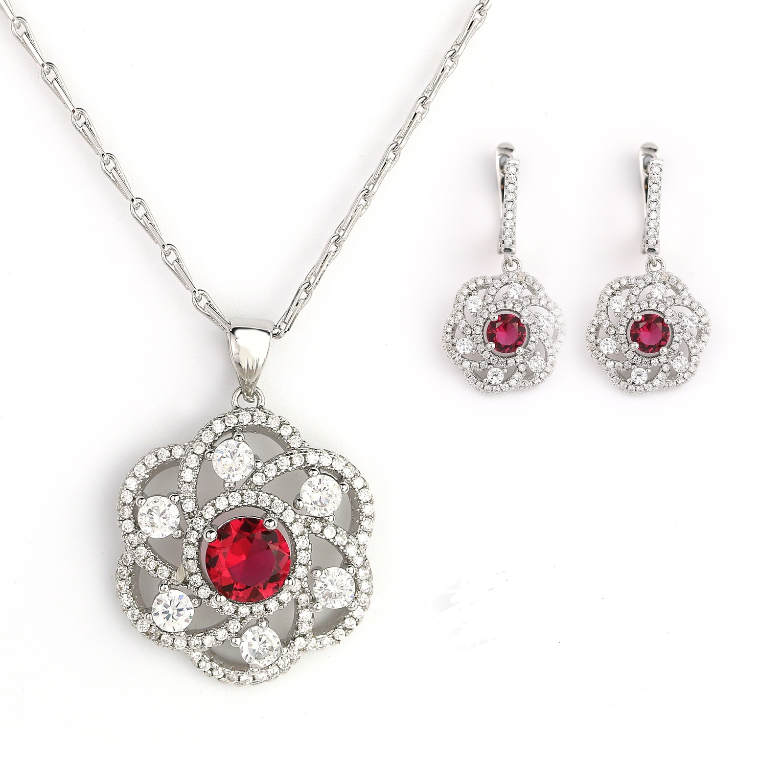 Silver Tone Set With Faux Red Ruby & Swarovski Style Crystals- United Elegance - $29.99