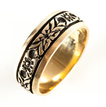 Vintage 1970's 14k Yellow Gold Floral / Flower Style Wedding Band 4.6g S... - $470.00