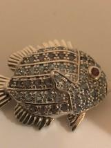 Vintage Blue Topaz Fish Brooch 925 Sterling Silver Pin - $193.05