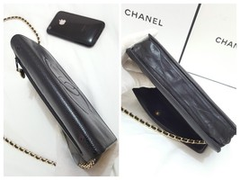 Auth Chanel Timeless Black Caviar Leather Gold Chain Wallet WOC Crossbody Bag image 5
