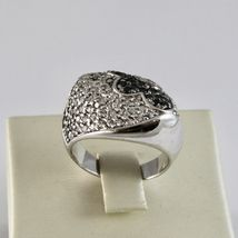 Silver Ring 925 with Flower of Zircon Cubic White and Black image 3