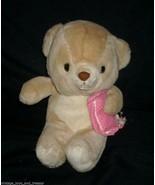 VINTAGE OSHKO BROWN TAN TEDDY BEAR W/ PINK PILLOW STUFFED ANIMAL PLUSH T... - $28.05