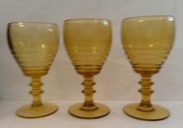 Stuart Glass Art Deco Amber Banded Design Wine Glasses Set of 3 1920s - $35.33