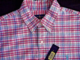 Polo Ralph Lauren Men's Checked Oxford Shirt, Pink\Royal, Size M, MSRP $89.5 - $49.49