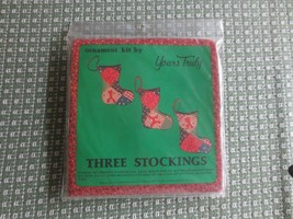 """Yours Truly THREE STOCKINGS ORNAMENT Sealed KIT - 5"""" each - $4.95"""