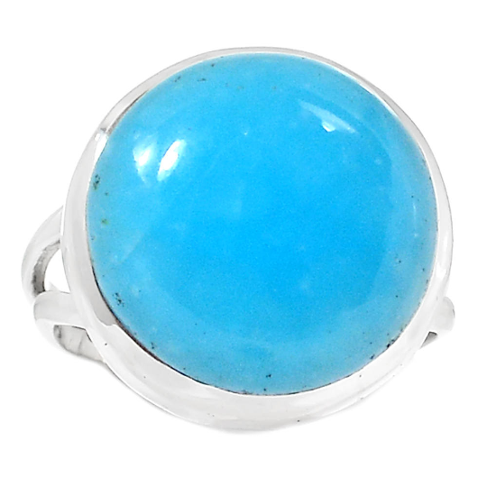Blue Turquoise Sterling Silver Overlay Ring Size 9.5 US Delicate Handmade Jewelry