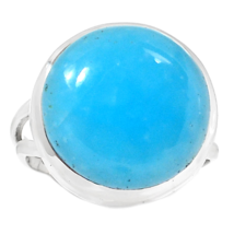 Rare Smithsonite Ring Size 8.5 USA or R UK, 925 Silver, Sky Blue - $32.00