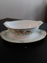 Vintage Gravy Boat Attached Plate Noritake China Made In Japan #5286 Alice Patte image 1