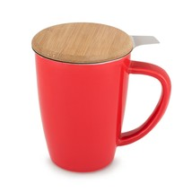 Cute Mugs, Bailey Red Insulated Tea Novelty Unique Ceramic Infuser Mug - $23.99