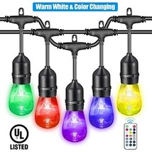 VAVOFO 48FT Warm White & Color Changing Cafe String Lights, Dimmable LED... - $105.54