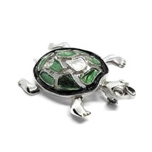 Artist Signed 925 Sterling Silver Green Enamel Turtle Brooch Pin - $19.79