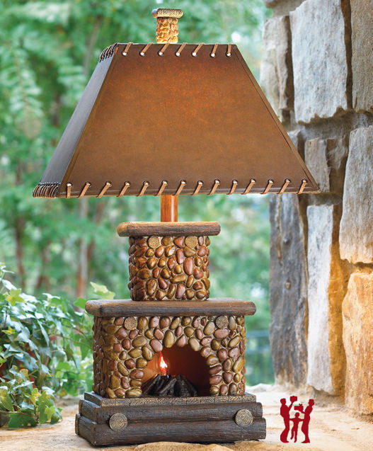 Stone Fireplace Table Lamp Flicker Flame Nightlight Rustic Cabin Lodge Chimney