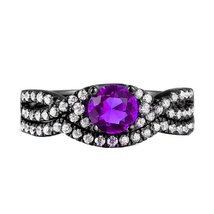 Sterling Silver 925 Amethyst & Simulated Diamond Bridal Engagement Ring Set  - $99.99