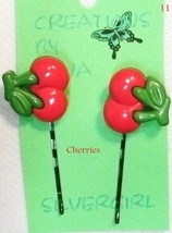 FUN Hand Created Bobbie Pin CHOOSE Cherrys Grapes Strawberries Aqua Purp... - $5.49
